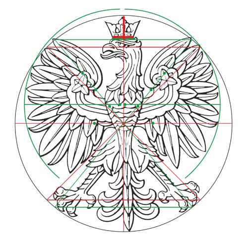 geometria orła A. Heidricha, wersja rysunkowa