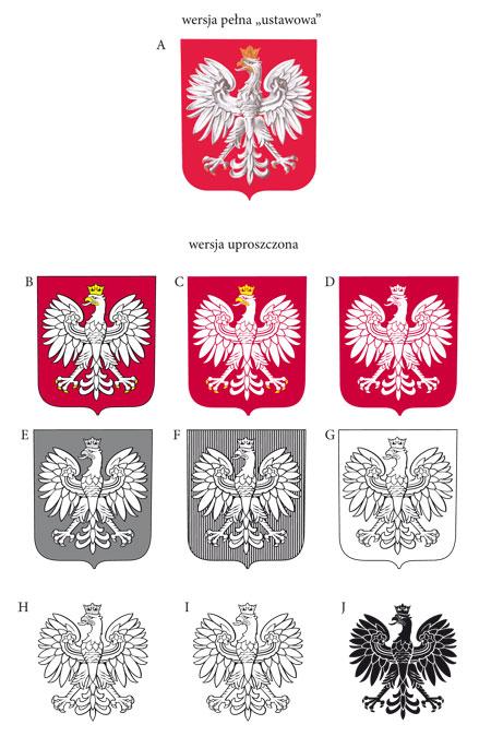 herb RP Orzeł Biały - wersje