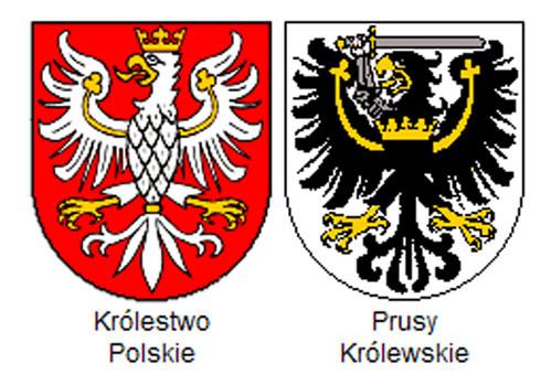 herby Królestwa i Prus Królewskich