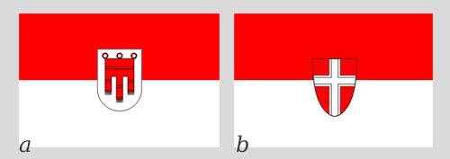 Flagi austriackie: (a) – flaga Landu Vorlalrberg i (b) – flaga Wiednia.