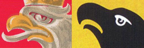 porównanie głowy orła Kamińskiego i orła piastowskiego