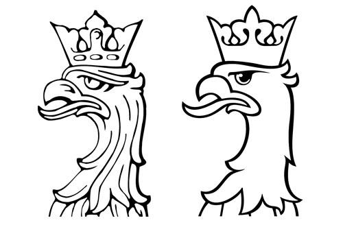 kształt głowy orła i korony, porównanie
