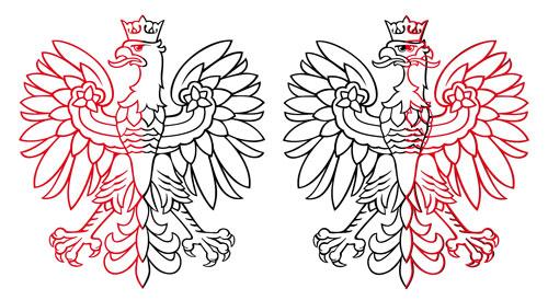 lustrzana wersja prawej i lewej strony orłą