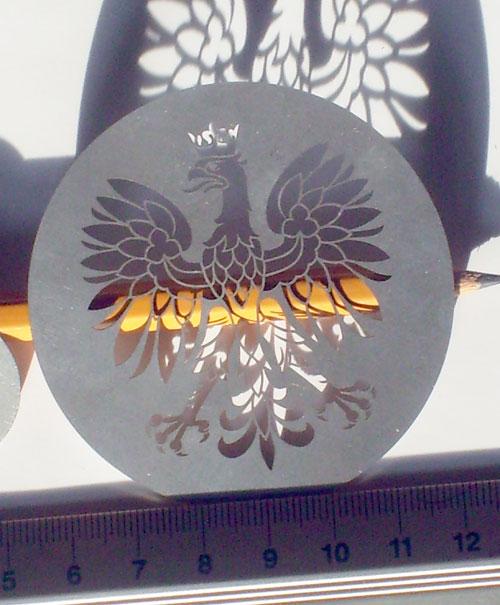 orzeł wysokości 5,2 cm cięty laserowo w stali