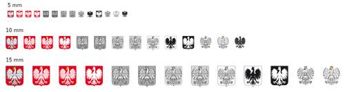 wersje herbu i godła ułożone w listwy
