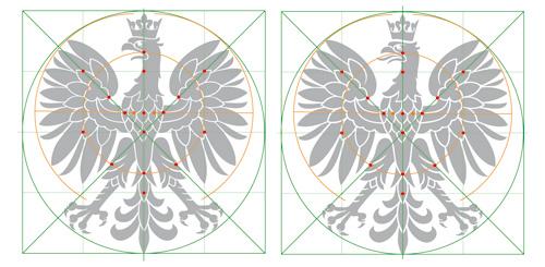 proporcje głowy orła, porównanie na siatce