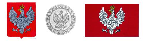 Trzy godła Drugiej Rzeczypospolitej wz. 1919: Herb Orzeł Biały, pieczęć Wielka Rzeczypospolitej i Chorągiew Rzeczypospolitej