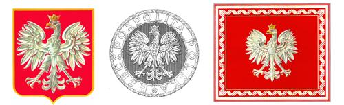 Trzy godła II Rzeczypospolitej wz. 1927: Herb Orzeł Biały, Pieczęć  Rzeczypospolitej i Chorągiew Rzeczypospolitej
