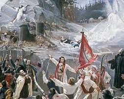 """Fragment """"Polonii"""" Jana Styki – monumentalnej alegorii narodowej namalowanej w 1891 r."""