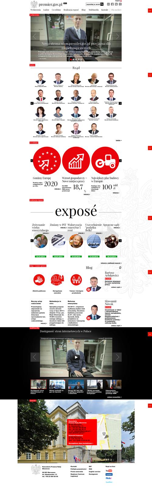 zrzut ekranu strony Kancelarii Premiera