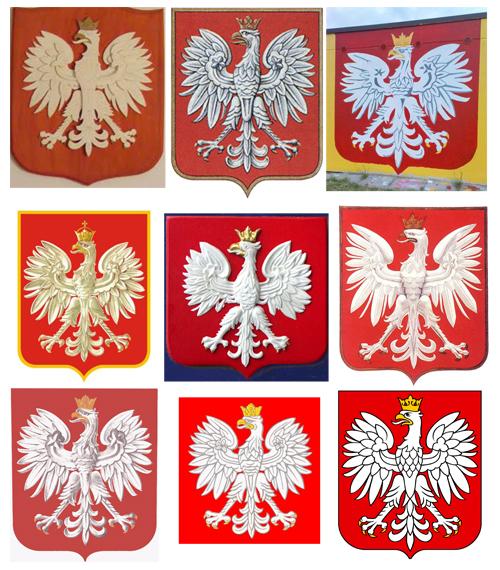 różne odtworzenia herbu Rzeczypospolitej