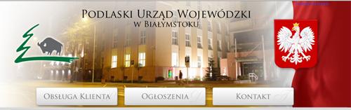 nagłówek strony www Podlaskiego Urzędu Wojewódzkiego