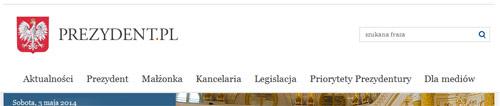 nagłówek strony www prezydent.pl 2014.05.06