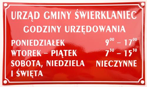 przykład tablicy z dodanymi godzinami urzędowania
