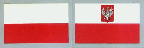 Dwie flagi Rzeczypospolitej wg ustawy z 1919 r. – rekonstrukcja barwna KJG