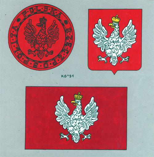 Trzy godła państwowe II Rzeczypospolitej – rekonstrukcja barwna KJG