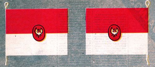 Bandera dla Marynarki Polskiej wg projektu Bogumiła Nowotnego z1918 r. - rekonstrukcja barwna KJG 1998