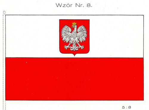 Flaga państwowa z herbem na białym pasie wz. 1927