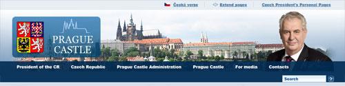 nagłówek strony Prezydenta Czech
