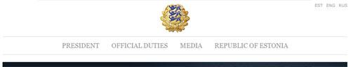 nagłówek strony Prezydenta Estonii