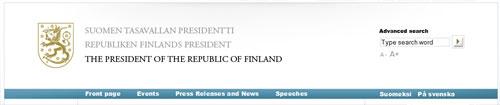 nagłówek strony Prezydenta Finlandii