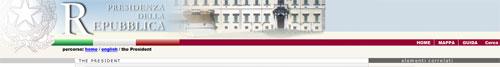 nagłówek strony Prezydenta Włoch