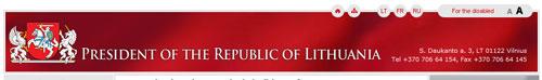 nagłówek strony Prezydenta Litwy
