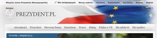 nagłówek oficjalnej strony Prezydenta RP