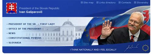 nagłówek strony Prezydenta Słowacji