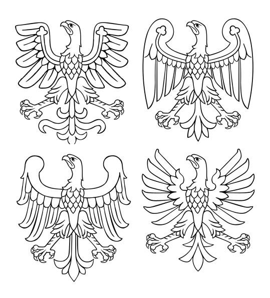 Przykładowe orły modułowe z użyciem skrzydeł i ogonów orłów z 4 herbów wojewódzkich: wielkopolskiego, śląskiego, mazowieckiego i małopolskiego.