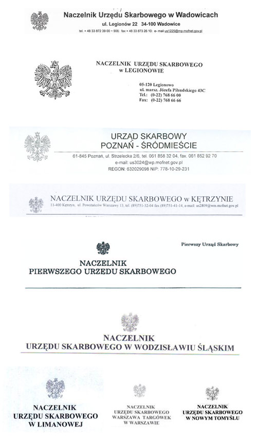 przykłady nagłówków z godłem używanych przez Urzędy Skarbowe