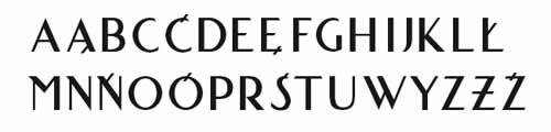 odtworzony krój liternictwa tablicowego z 1930 r